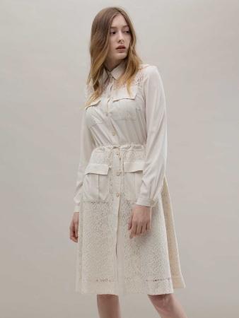 Платье-рубашка молочное 8OM8